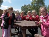 Dalry PS visit Catrine House - enjoying the ice cream (2010)