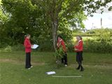 Dalry PS pupils tree surveying with Ranger Pete (2008)