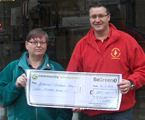 Cheque presentation to Michael Lafferty for Chernobyl Children's Lifeline (2012)