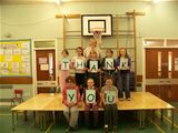 Mrs Gibb and pupils from St. Palladius PS with their new stage - Sept 2013